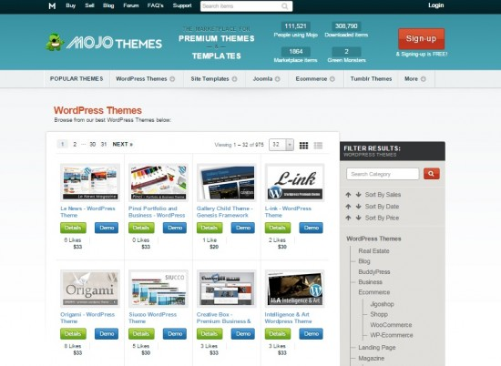 Mojo themes marketplace de temas de WordPress