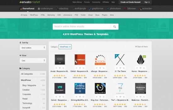Sección de themes WordPress en Theme forest
