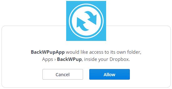 Autenticar BackWPup en Dropbox