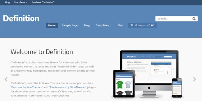 Homepage del tema Definition que se integra con Sensei