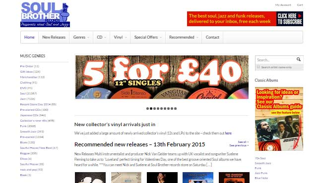 homepage de tienda online soul brother