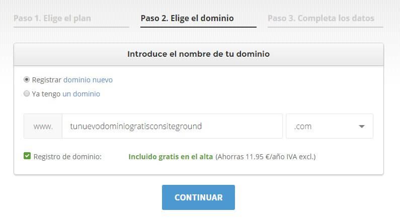 contratar un dominio gratis con el hosting de siteground
