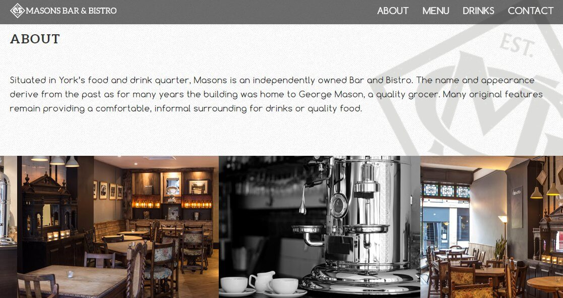 sitio web de bar restaurante hecho con divi