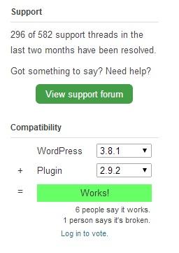 Compatibilidad de plugin en el directorio de WordPress
