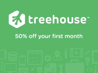 descuento de 50% el primer mes en Treehouse