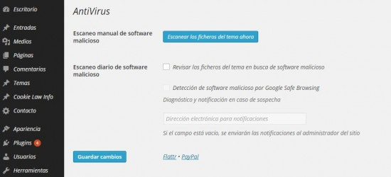 sencillo antivirus para wordpress