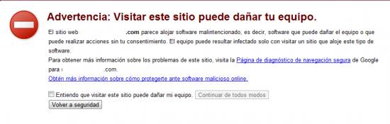aviso de google por web peligrosa