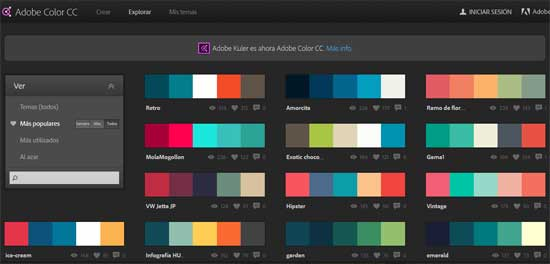 Adobe color cc - crea paletas de colores