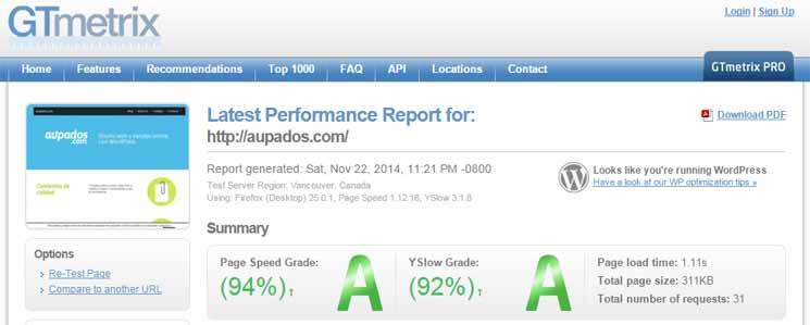 resultados de velocidad en gtmetrix