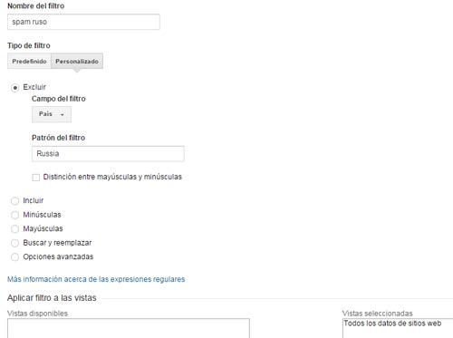 filtrar spam ruso