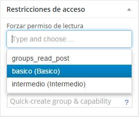selecciona el grupo de contenido restringido