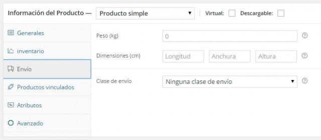 introducir datos de peso volumen y tipo de envío para cada producto de woocommerce