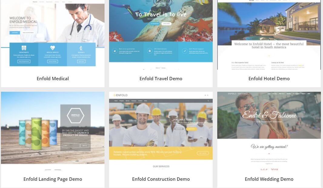 demos disponibles para el tema de wordpress enfold