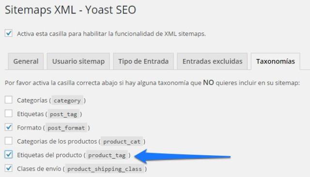 no incluir etiquetas de producto en el sitemap