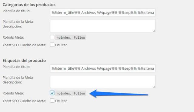 no indexar etiquetas de producto