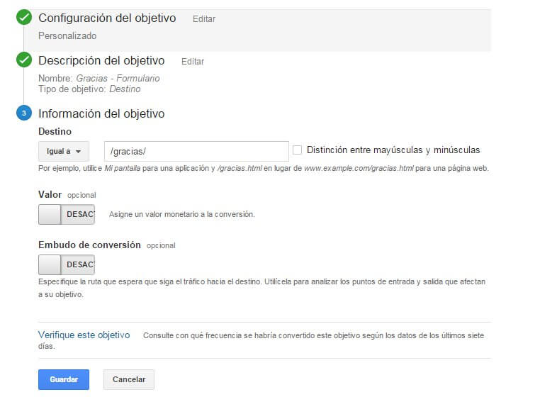 configurar objetivos en google analytics con wordpress y el plugin contact form 7