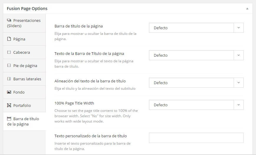 opciones de pagina de avada configura cada pagina a tu gusto