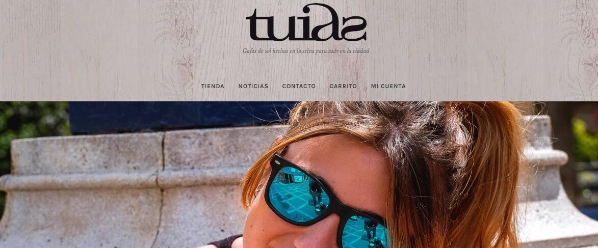 tienda online de gafas de sol de madera hecha con storefront y galleria