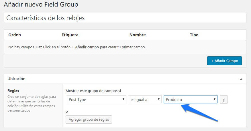 advanced custom fields en woocommerce