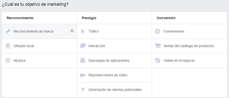 elegir objetivo en facebook ads