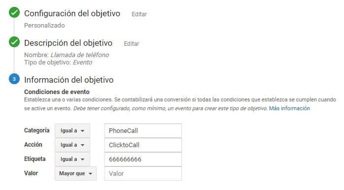 agregar objetivos a la configuracion de la cuenta de analytics
